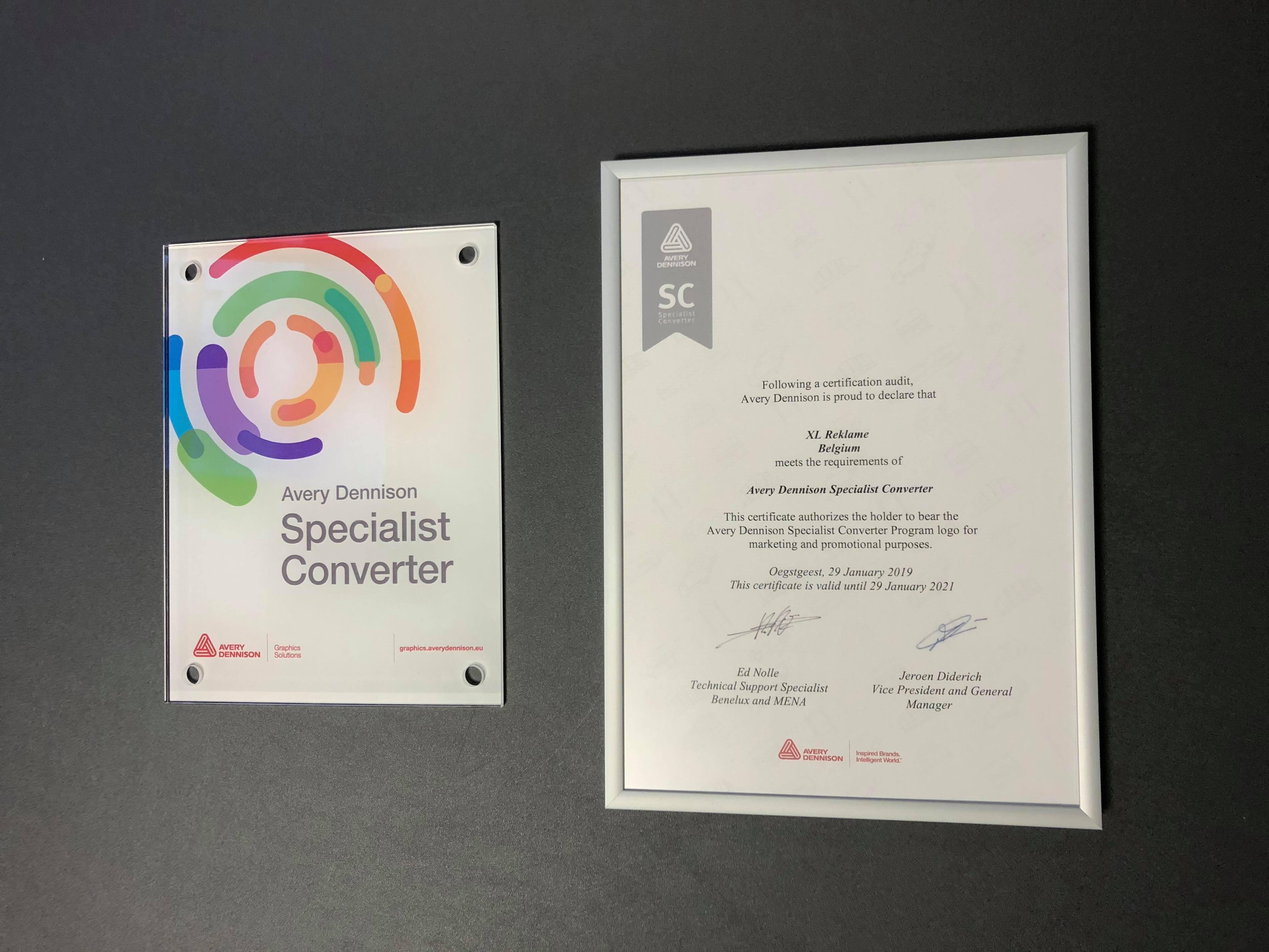 Certificaten Avery Dennison Specialist Converter
