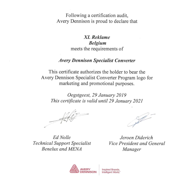 Certificaat Avery Dennison Specialist Converter