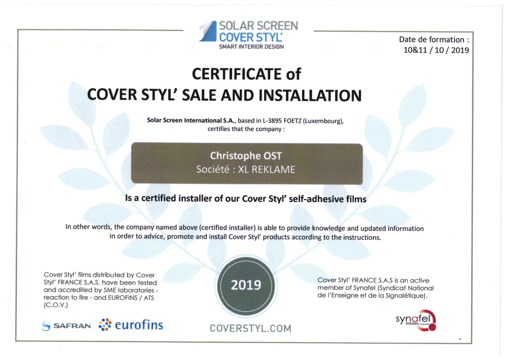 Beletteraar Ost is certified installer van Cover Styl'